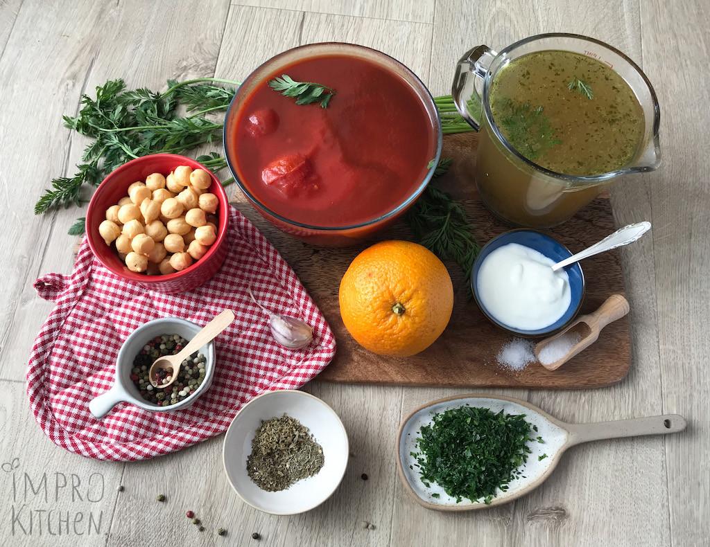 Składniki nazupę krem pomidorowo - pomarańczową